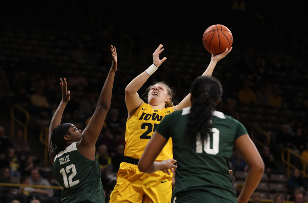 Iowa Hawkeyes forward/center Monika Czinano (25) against the Michigan State Spartans Thursday, February 7, 2019 at Carver-Hawkeye Arena. (Brian Ray/hawkeyesports.com)
