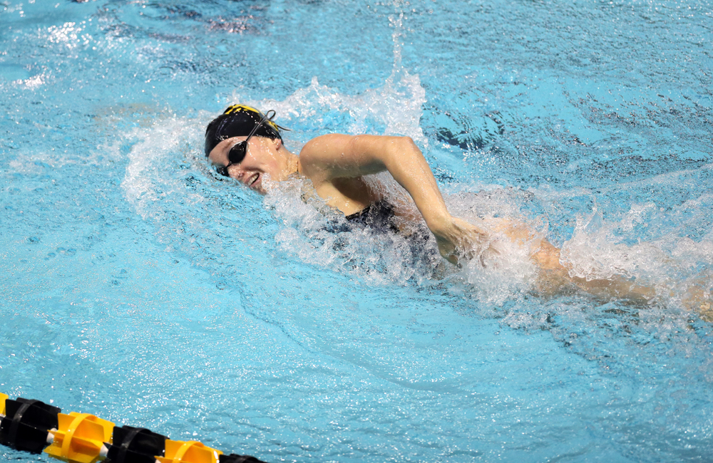 IowaÕs Samantha Sauer swims the 100 yard freestyle against the Michigan Wolverines Friday, November 1, 2019 at the Campus Recreation and Wellness Center. (Brian Ray/hawkeyesports.com)