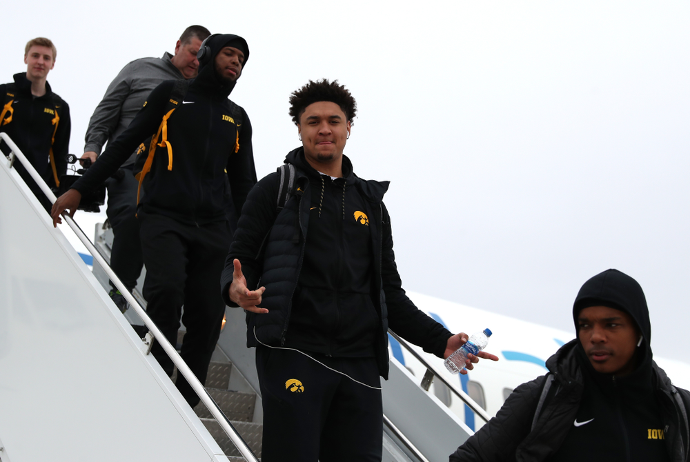 Iowa Hawkeyes forward Cordell Pemsl (35) arrives in Columbus for the first and second rounds of the 2019 NCAA Men's Basketball Tournament Wednesday, March 20, 2019. (Brian Ray/hawkeyesports.com)