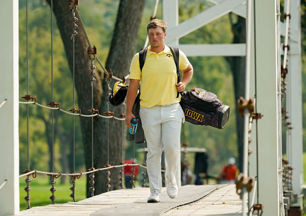 Iowa's Alex Schaake walks across a bridge during the third day of the Golfweek Conference Challenge at the Cedar Rapids Country Club in Cedar Rapids on Tuesday, Sep 17, 2019. (Stephen Mally/hawkeyesports.com)