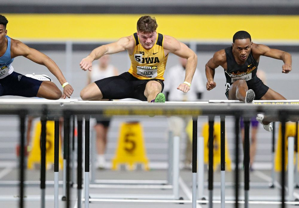 Iowa's Peyton Haack runs in the men's 60 meter hurdles prelim event during the Hawkeye Invitational at the Recreation Building in Iowa City on Saturday, January 11, 2020. (Stephen Mally/hawkeyesports.com)
