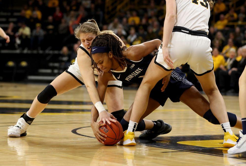 Iowa Hawkeyes forward/center Monika Czinano (25) against Penn State Saturday, February 22, 2020 at Carver-Hawkeye Arena. (Brian Ray/hawkeyesports.com)