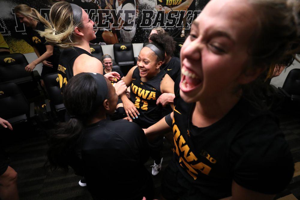 Iowa Hawkeyes guard Tania Davis (11) celebrates their 73-70 win against the Iowa State Cyclones in the Iowa Corn Cy-Hawk Series Wednesday, December 5, 2018 at Carver-Hawkeye Arena. (Brian Ray/hawkeyesports.com)