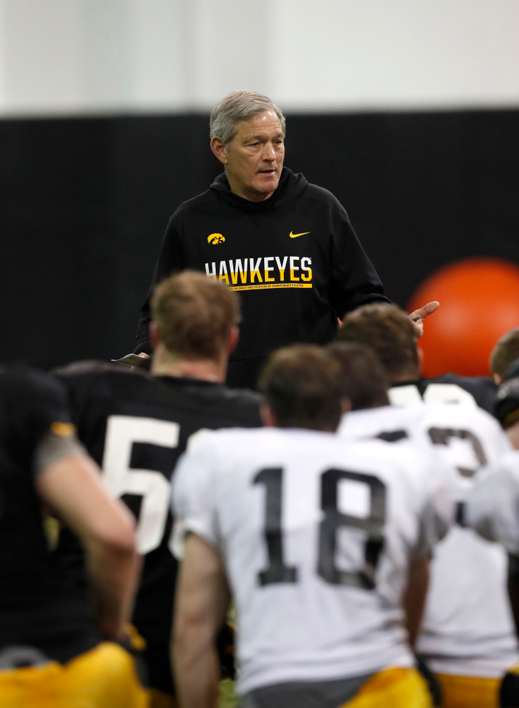 Iowa Hawkeyes head coach Kirk Ferentz during spring practice No. 13 Wednesday, April 18, 2018 at the Hansen Football Performance Center. (Brian Ray/hawkeyesports.com)