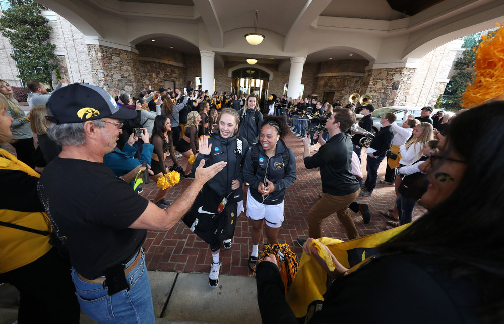 Iowa Hawkeyes guard Kathleen Doyle (22) and guard Alexis Sevillian (5) during a send off at the hotel before their game against the NC State Wolfpack in the regional semi-final of the 2019 NCAA Women's College Basketball Tournament Saturday, March 30, 2019 at Greensboro Coliseum in Greensboro, NC.(Brian Ray/hawkeyesports.com)