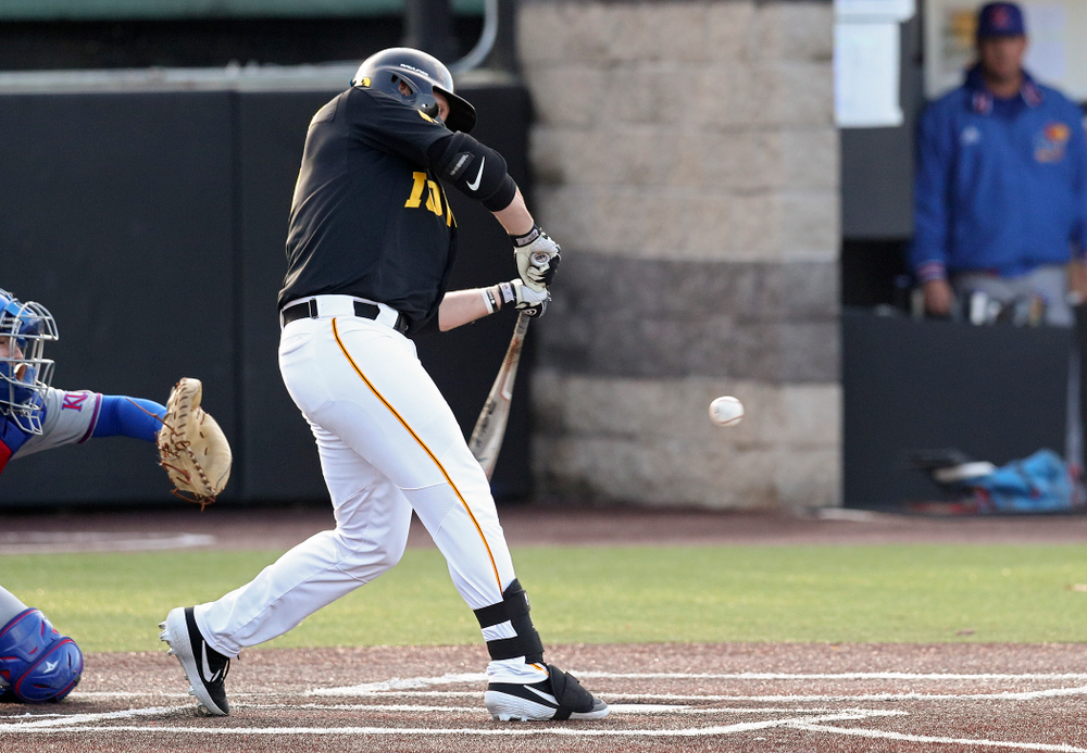 Iowa left fielder Zeb Adreon (5) hits a 2-run single during the fourth inning of their college baseball game at Duane Banks Field in Iowa City on Tuesday, March 10, 2020. (Stephen Mally/hawkeyesports.com)