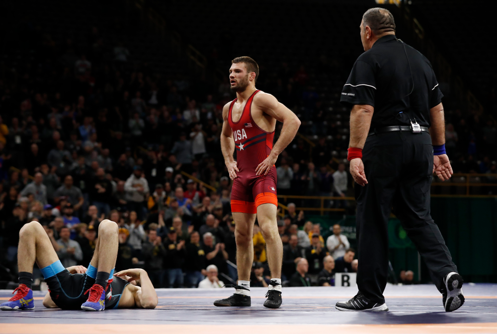 Thomas Gilman during session three of the United World Wrestling Freestyle World Cup Sunday, April 8, 2018 at Caver-Hawkeye Arena. (Brian Ray/hawkeyesports.com)
