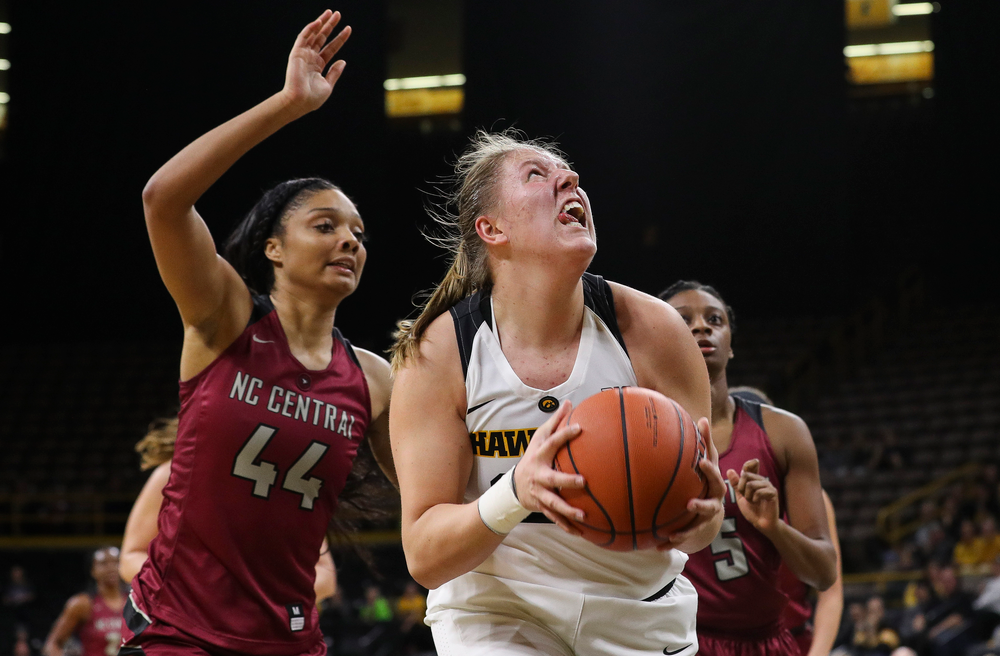 Iowa Hawkeyes forward Monika Czinano (25) goes up for a shot during a game against North Carolina Central at Carver-Hawkeye Arena on November 17, 2018. (Tork Mason/hawkeyesports.com)