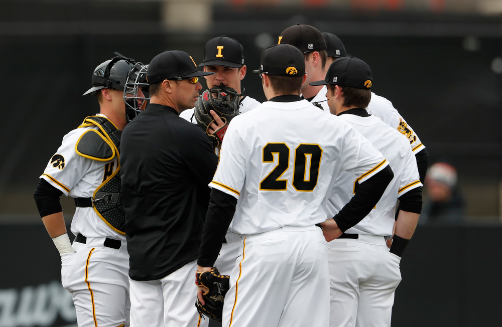 Iowa Hawkeyes pitching coach Desi Druschel during a double header against the Indiana Hoosiers Friday, March 23, 2018 at Duane Banks Field. (Brian Ray/hawkeyesports.com)