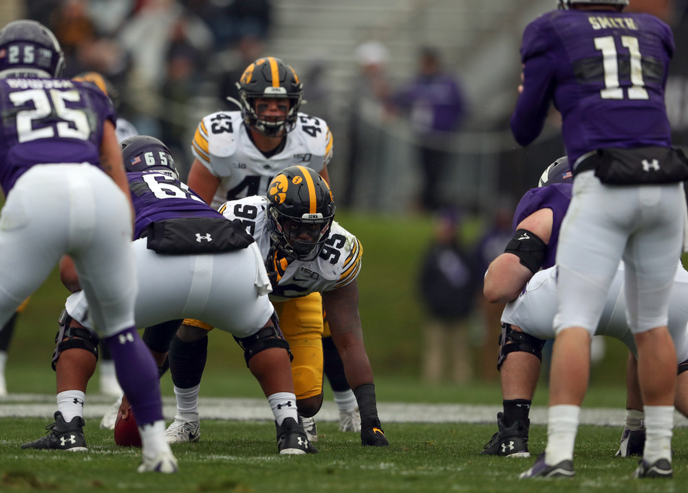 Iowa Hawkeyes defensive lineman Cedrick Lattimore (95) against the Northwestern Wildcats Saturday, October 26, 2019 at Ryan Field in Evanston, Ill. (Brian Ray/hawkeyesports.com)