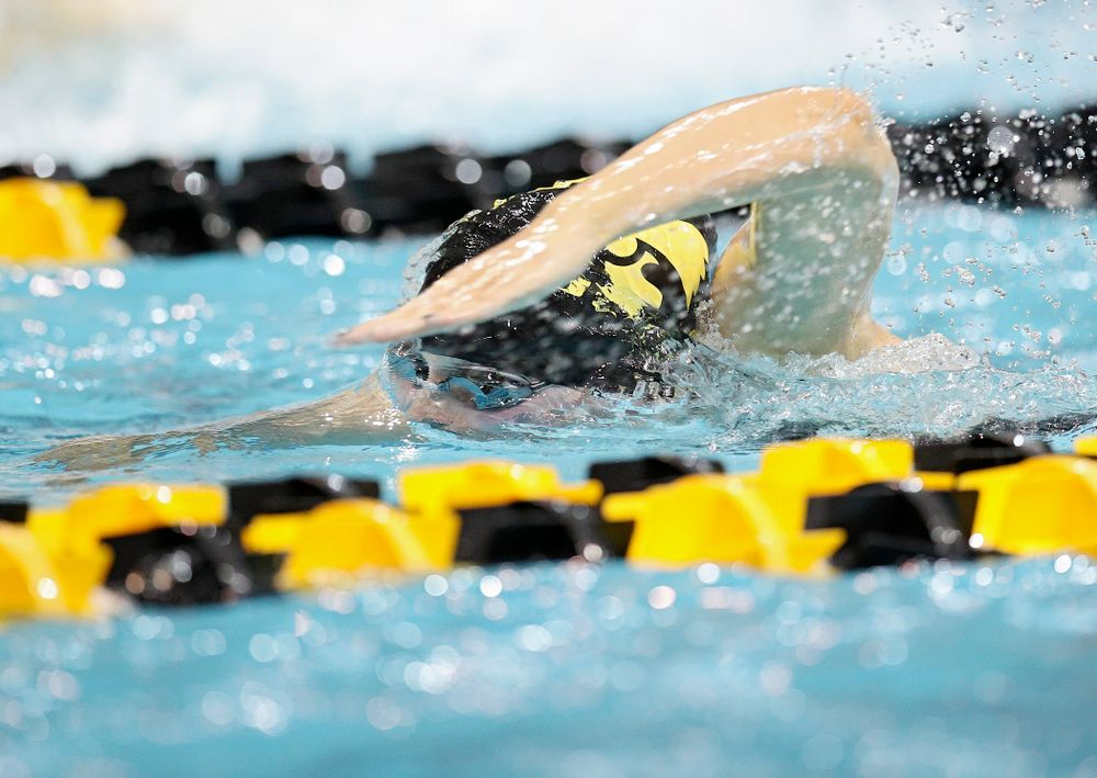 Iowa's Hannah Burvill swims the women's 100 yard freestyle consolation final event during the 2020 Women's Big Ten Swimming and Diving Championships at the Campus Recreation and Wellness Center in Iowa City on Saturday, February 22, 2020. (Stephen Mally/hawkeyesports.com)
