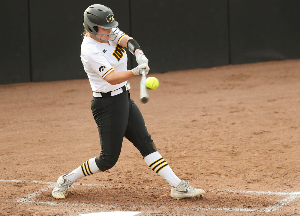 Iowa designated player Miranda Schulte (20) bats during the second inning of their game against Ohio State at Pearl Field in Iowa City on Friday, May. 3, 2019. (Stephen Mally/hawkeyesports.com)