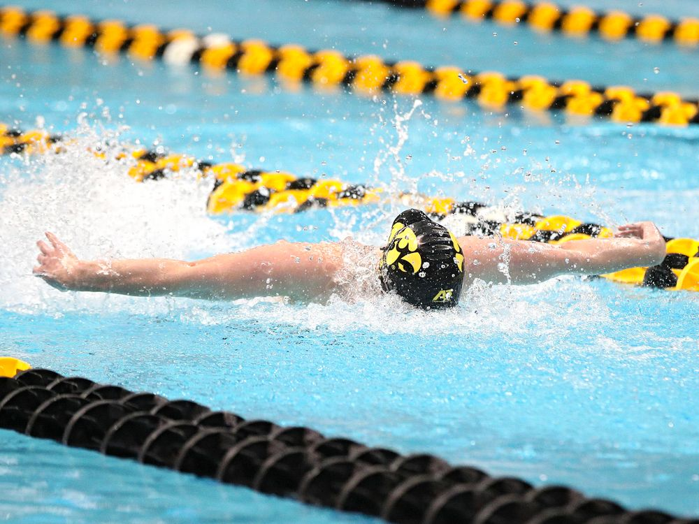 Iowa's Kelsey Drake swims the butterfly section of the 200 yard medley relay event during the 2020 Big Ten Women's Swimming and Diving Championships at the Campus Recreation and Wellness Center in Iowa City on Wednesday, February 19, 2020. (Stephen Mally/hawkeyesports.com)