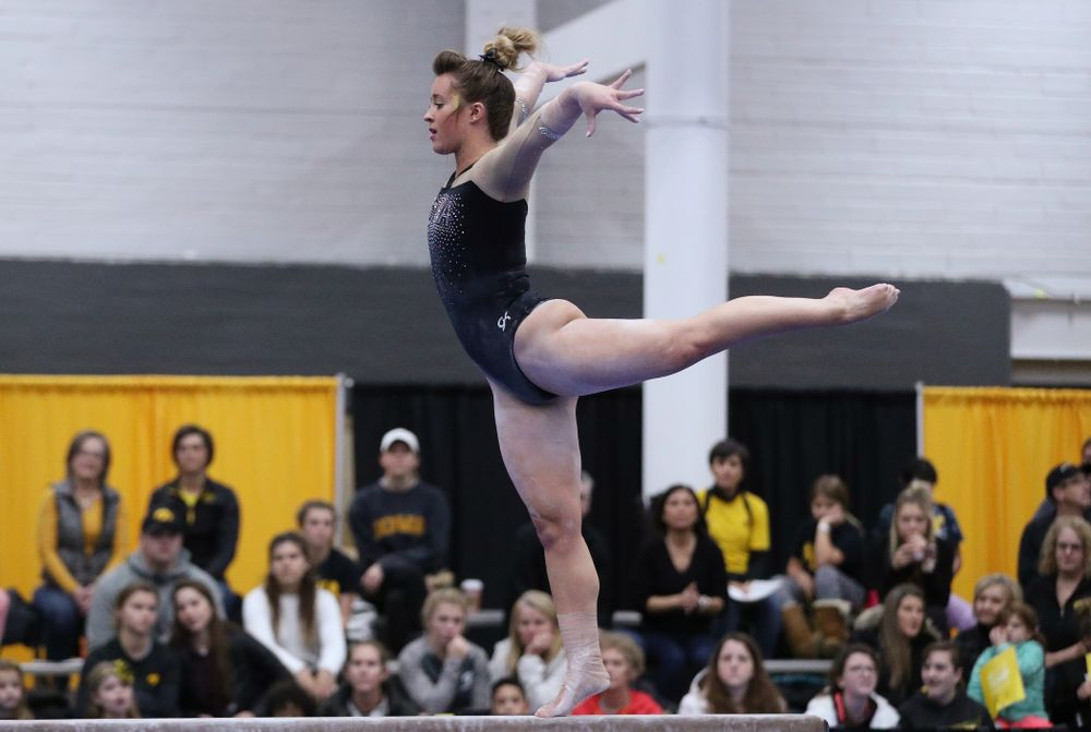 Madison Kampschroeder competes on the beam during the Black and Gold intrasquad meet Saturday, December 1, 2018 at the University of Iowa Field House. (Brian Ray/hawkeyesports.com)