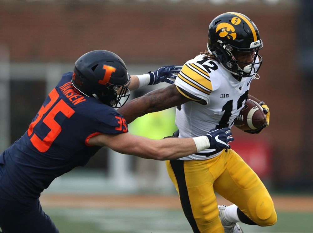 Iowa Hawkeyes wide receiver Brandon Smith (12) against the Illinois Fighting Illini Saturday, November 17, 2018 at Memorial Stadium in Champaign, Ill. (Brian Ray/hawkeyesports.com)