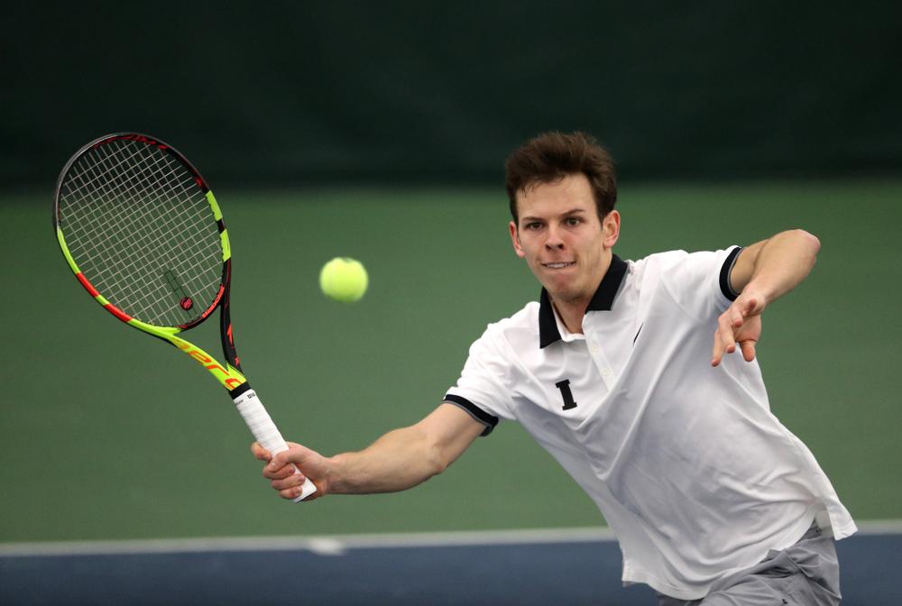 Iowa's Piotr Smietana against Western Michigan Saturday, January 19, 2019 at the Hawkeye Tennis and Recreation Complex. (Brian Ray/hawkeyesports.com)