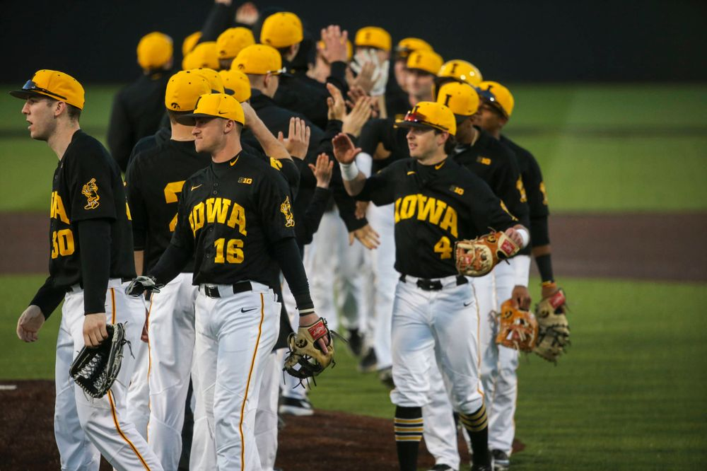 The Iowa baseball team at the game vs. Bradley on Tuesday, March 26, 2019 at (place). (Lily Smith/hawkeyesports.com)