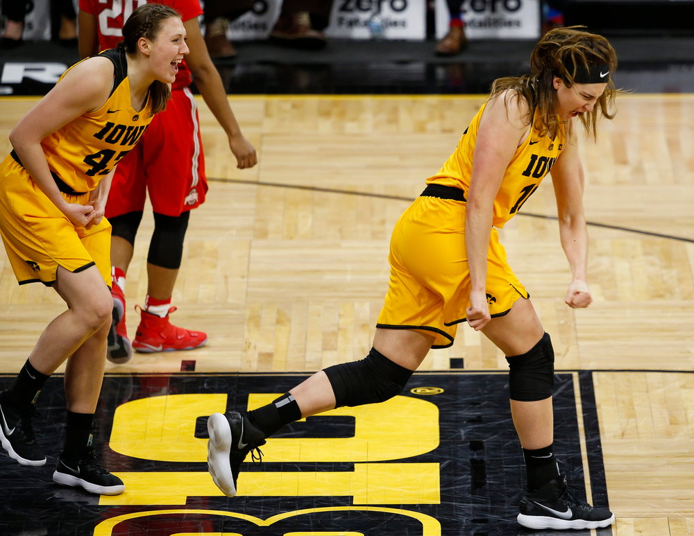 Iowa Hawkeyes forward Megan Gustafson (10) reacts after a made basket and foul during a game against the Ohio State Buckeyes at Carver-Hawkeye Arena on January 25, 2018. (Tork Mason/hawkeyesports.com)