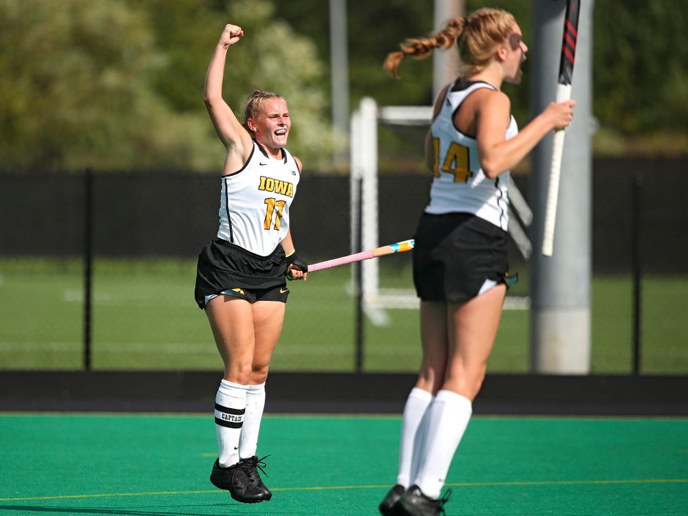 Iowa's Katie Birch (11) celebrates after scoring a goal during the second quarter of their game at Grant Field in Iowa City on Friday, Sep 13, 2019. (Stephen Mally/hawkeyesports.com)