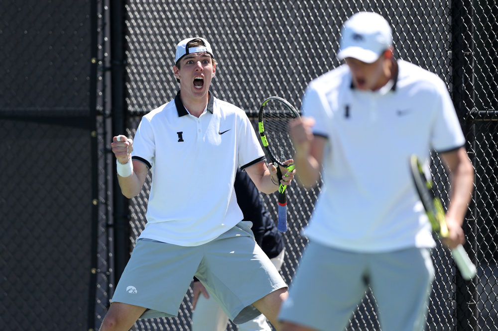 IowaÕs Joe Tyler and Nikita Snezhko play a doubles match against the Michigan Wolverines Sunday, April 21, 2019 at the Hawkeye Tennis and Recreation Complex. (Brian Ray/hawkeyesports.com)