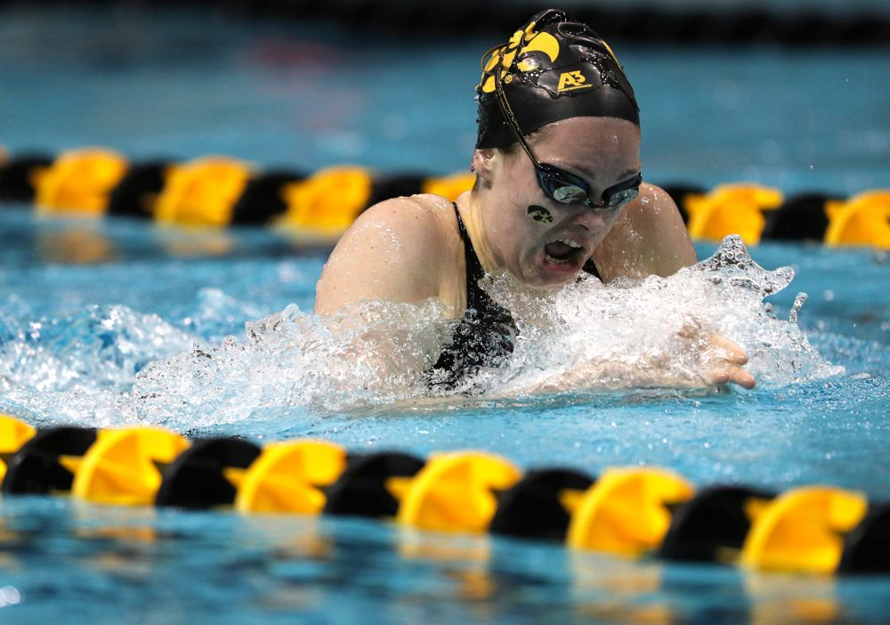 Iowa's Lexi Horner swims the 200-yard breaststroke against the Iowa State Cyclones in the Iowa Corn Cy-Hawk Series Friday, December 7, 2018 at at the Campus Recreation and Wellness Center. (Brian Ray/hawkeyesports.com)