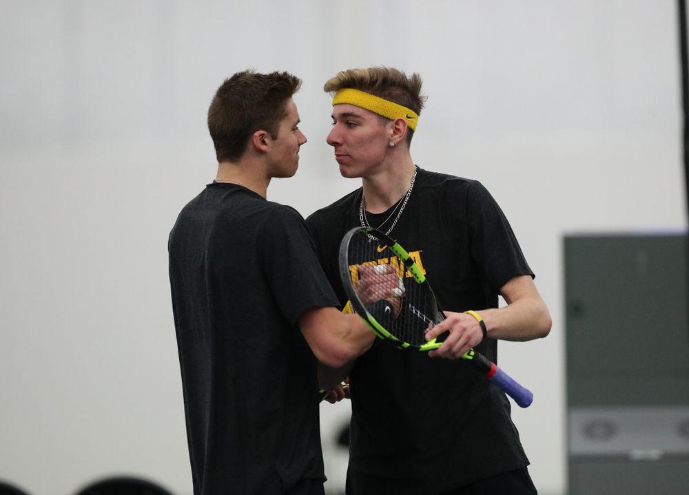 Iowa's Nikita Snezhko and Joe Tyler play a doubles match against UMKC Friday, February 15, 2019 at the Hawkeye Tennis and Recreation Complex. (Brian Ray/hawkeyesports.com)