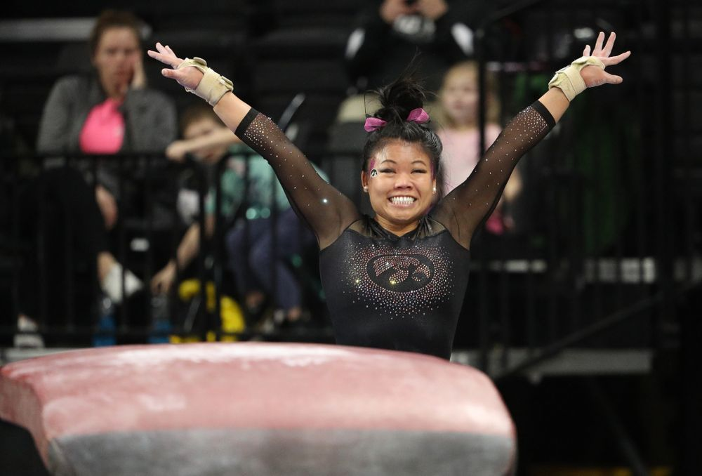 Iowa's Misty-Jade Carlson competes on the vault against the Minnesota Golden Gophers Saturday, January 19, 2019 at Carver-Hawkeye Arena. (Brian Ray/hawkeyesports.com)
