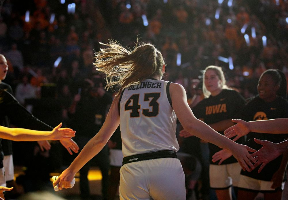 Iowa Hawkeyes forward Amanda Ollinger (43) is introduced before the game at Carver-Hawkeye Arena in Iowa City on Thursday, February 6, 2020. (Stephen Mally/hawkeyesports.com)