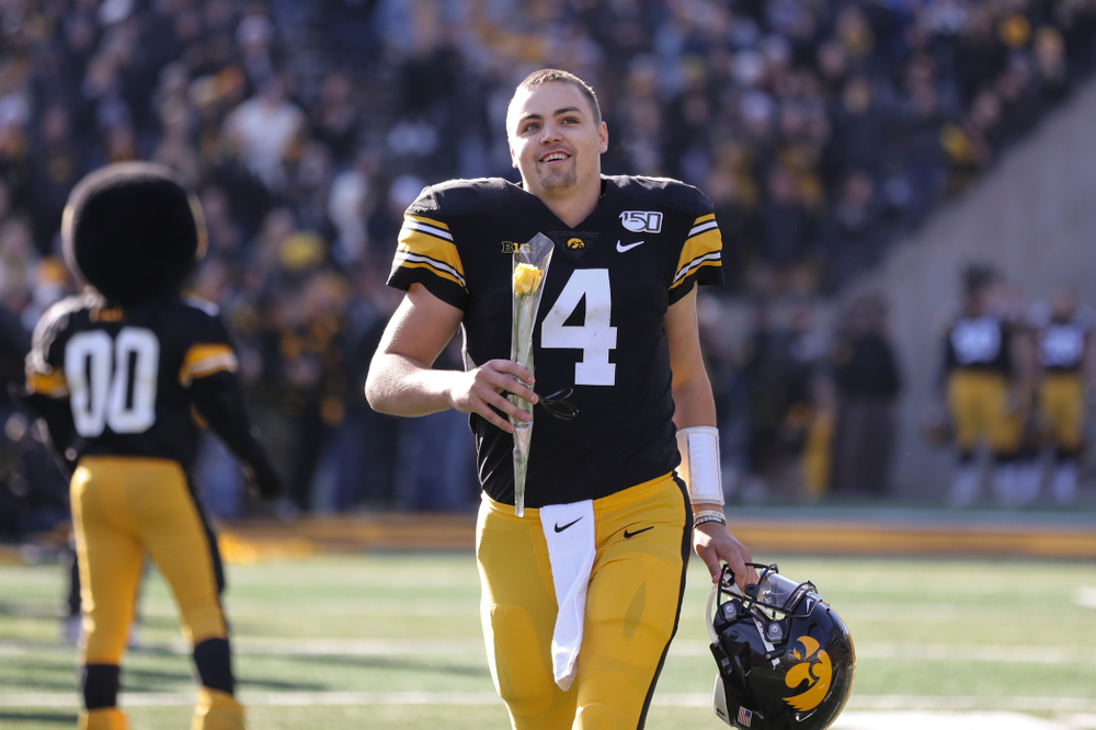 Iowa Hawkeyes quarterback Nate Stanley (4) during Senior Day festivities before their game against the Illinois Fighting Illini Saturday, November 23, 2019 at Kinnick Stadium. (Brian Ray/hawkeyesports.com)