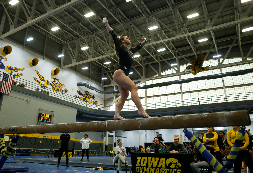 Madison Kampschroeder competes on the balance beam during the Black and Gold Intrasquad meet at the Field House on 12/2/17. (Tork Mason/hawkeyesports.com)