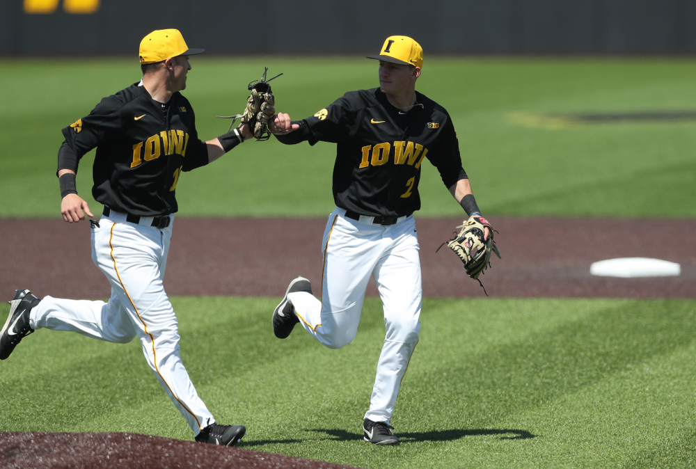 Iowa Hawkeyes Tanner Wetrich (16) and infielder Brendan Sher (2) during game two against UC Irvine Saturday, May 4, 2019 at Duane Banks Field. (Brian Ray/hawkeyesports.com)