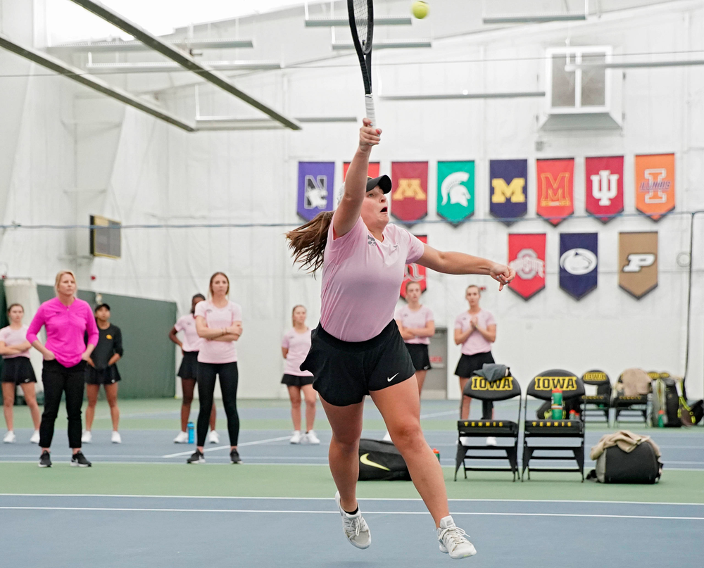Iowa's Danielle Bauers plays a doubles match against Purdue at the Hawkeye Tennis and Recreation Complex in Iowa City on Friday, Mar. 29, 2019. (Stephen Mally/hawkeyesports.com)