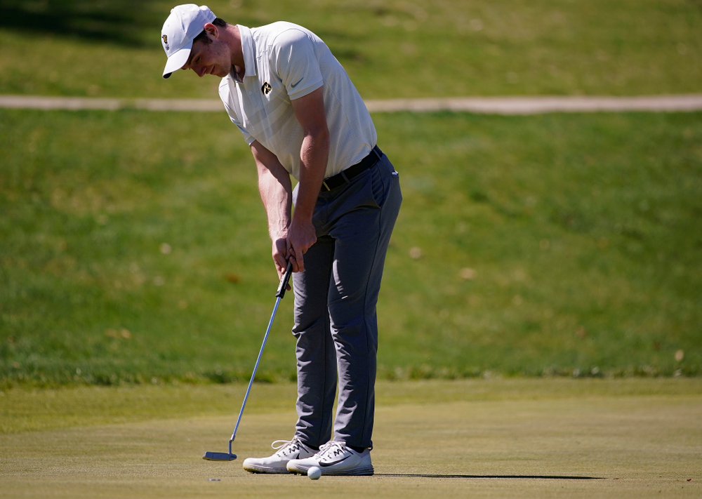 Iowa's Jake Rowe putts during the second round of the Hawkeye Invitational at Finkbine Golf Course in Iowa City on Saturday, Apr. 20, 2019. (Stephen Mally/hawkeyesports.com)
