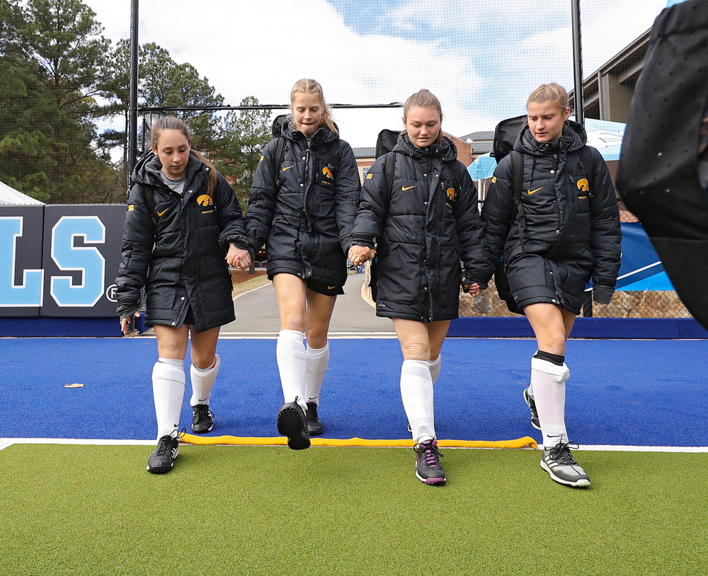 Iowa's Amy Gaiero (1), Sofie Stribos (9), Ellie Flynn (22), and Esme Gibson (15) before their NCAA Tournament Second Round match against North Carolina at Karen Shelton Stadium in Chapel Hill, N.C. on Sunday, Nov 17, 2019. (Stephen Mally/hawkeyesports.com)