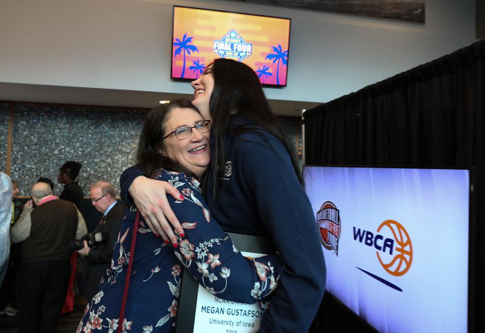 Iowa Hawkeyes forward Megan Gustafson (10) and her mother Eva Wednesday, April 4, 2018 at Amalie Arena in Tampa, FL. (Brian Ray/hawkeyesports.com)