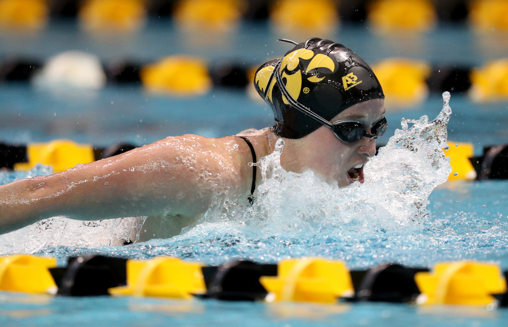 IowaÕs Kelsey Drake competes in the 200 yard butterfly against Notre Dame and Illinois Saturday, January 11, 2020 at the Campus Recreation and Wellness Center.  (Brian Ray/hawkeyesports.com)