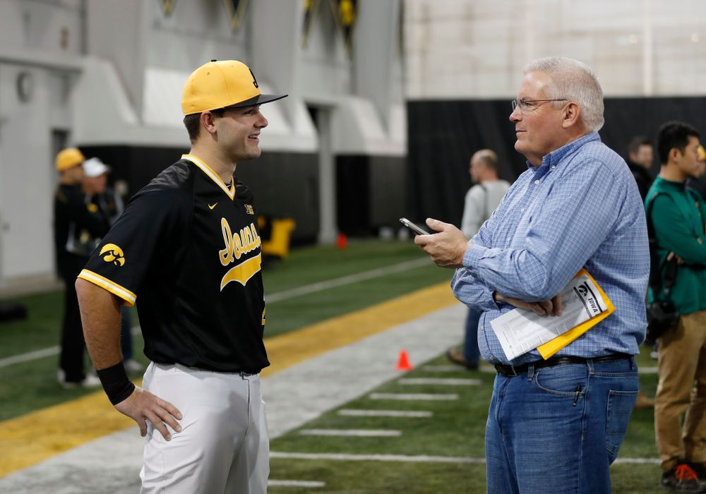 Iowa Hawkeyes infielder Kyle Crowl (23) answers questions from reporters during the team's annual media day Thursday, February 8, 2018 in the indoor practice facility. (Brian Ray/hawkeyesports.com)