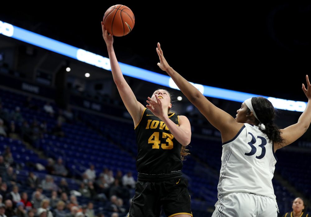 Iowa Hawkeyes forward Amanda Ollinger (43) against the Penn State Nittany Lions Thursday, January 30, 2020 at the Bryce Jordan Center. (Brian Ray/hawkeyesports.com)