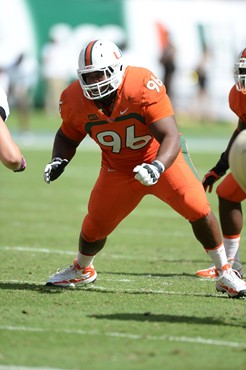 University of Miami Hurricanes defensive lineman Curtis Porter #96 plays in a game against the Wake Forest Demon Deacons at Sun Life Stadium on...