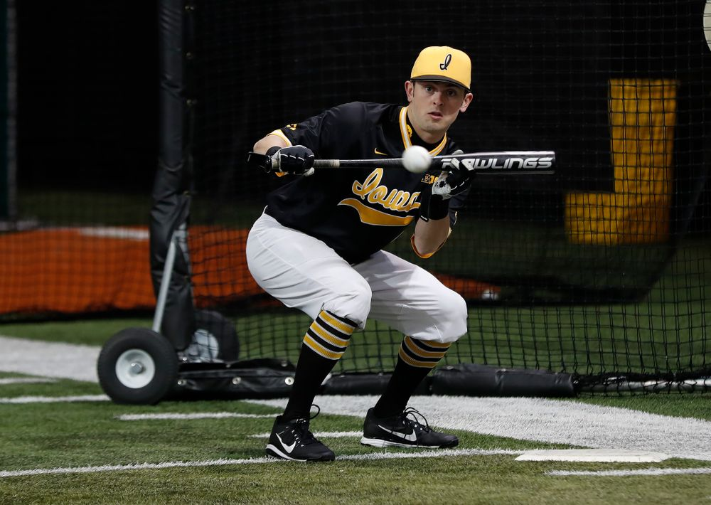 Iowa Hawkeyes infielder Mitchell Boe (4) during the team's annual media day Thursday, February 8, 2018 in the indoor practice facility. (Brian Ray/hawkeyesports.com)