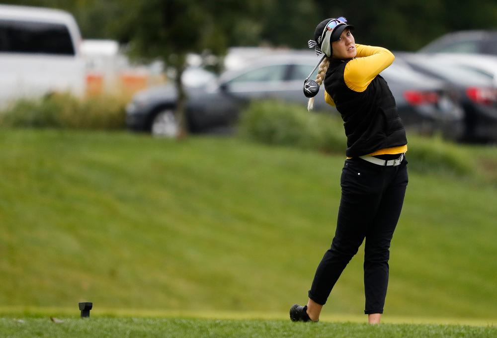 Iowa's Shawn Rennegarbe tees off during the Diane Thomason Invitational at Finkbine Golf Course on September 29, 2018. (Tork Mason/hawkeyesports.com)