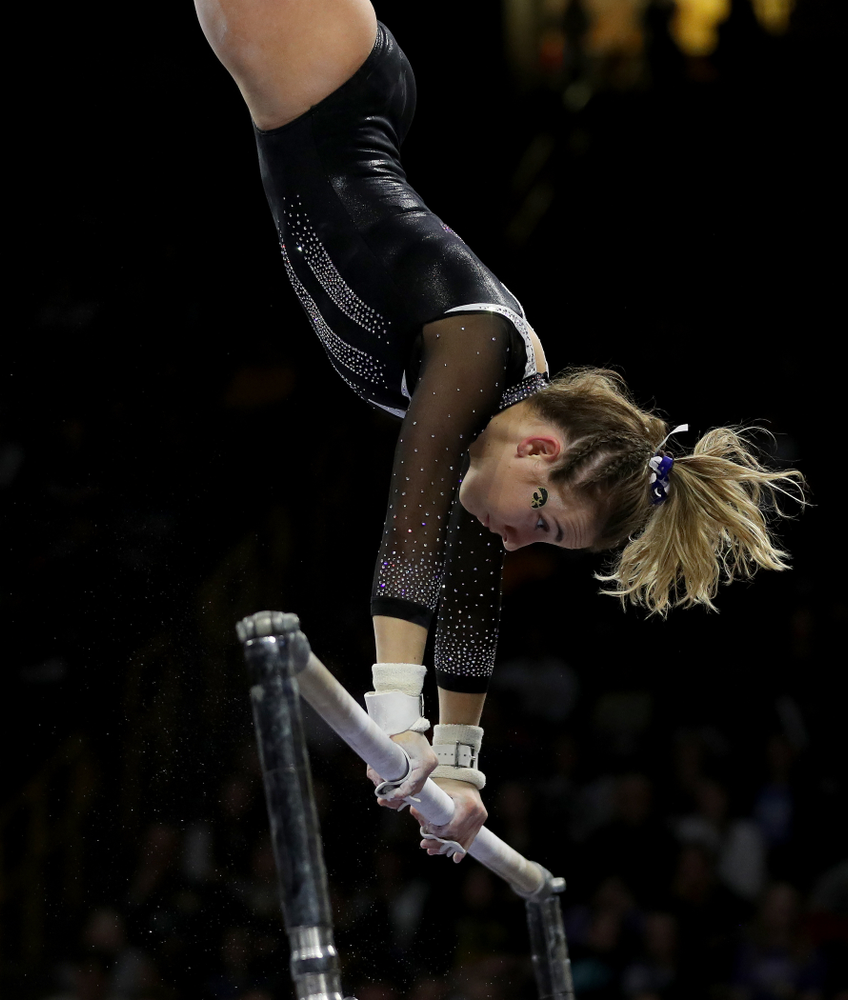 Iowa's Alex Greenwald competes on the bars against Michigan State Saturday, February 1, 2020 at Carver-Hawkeye Arena. (Brian Ray/hawkeyesports.com)