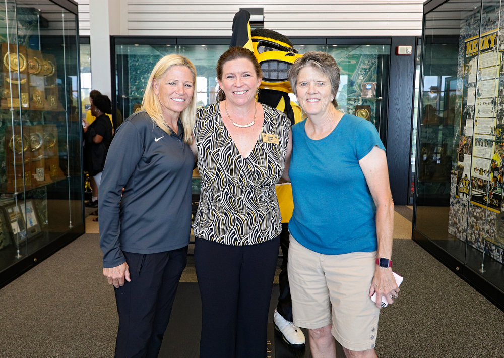 Iowa softball head coach Renee Gillispie (from left), 2019 University of Iowa Athletics Hall of Fame inductee Diane Pohl, and former softball head coach and Hall of Fame member Gayle Blevins at the University of Iowa Athletics Hall of Fame in Iowa City on Friday, Aug 30, 2019. (Stephen Mally/hawkeyesports.com)