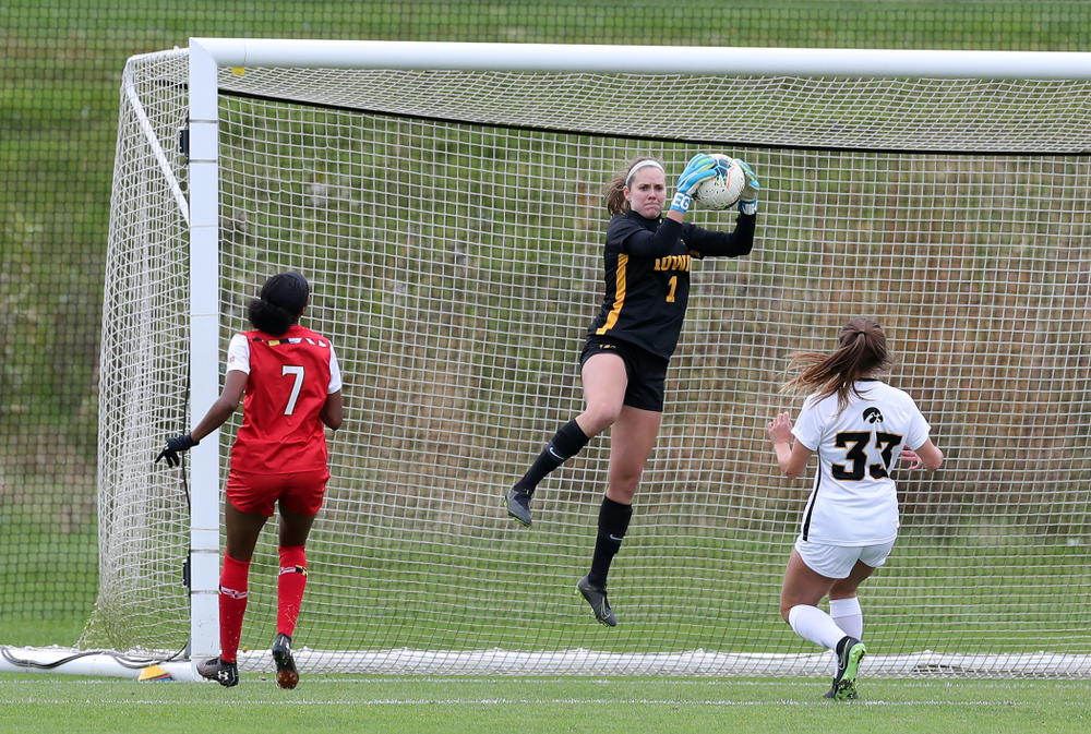 Iowa Hawkeyes goalkeeper Claire Graves (1) against the Maryland Terrapins Sunday, October 13, 2019 on senior day. (Brian Ray/hawkeyesports.com)