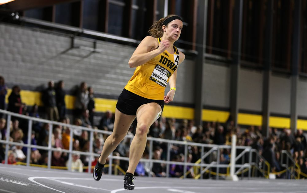 Iowa's Carly Donahue runs the 300-meters during the Jimmy Grant Invitational Saturday, December 8, 2018 at the Recreation Building. (Brian Ray/hawkeyesports.com)