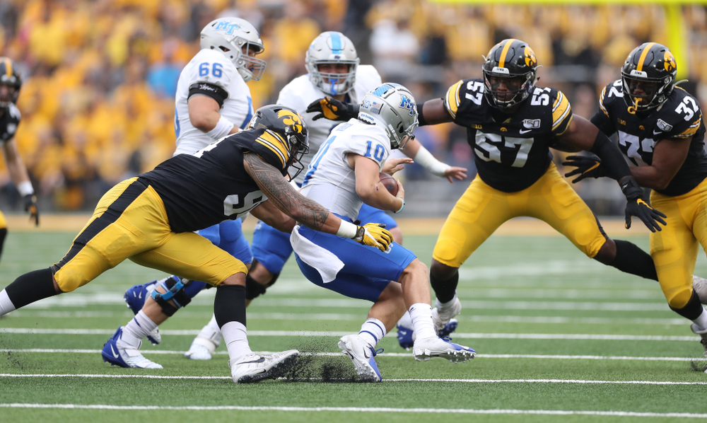 Iowa Hawkeyes defensive end A.J. Epenesa (94) against Middle Tennessee State Saturday, September 28, 2019 at Kinnick Stadium. (Max Allen/hawkeyesports.com)