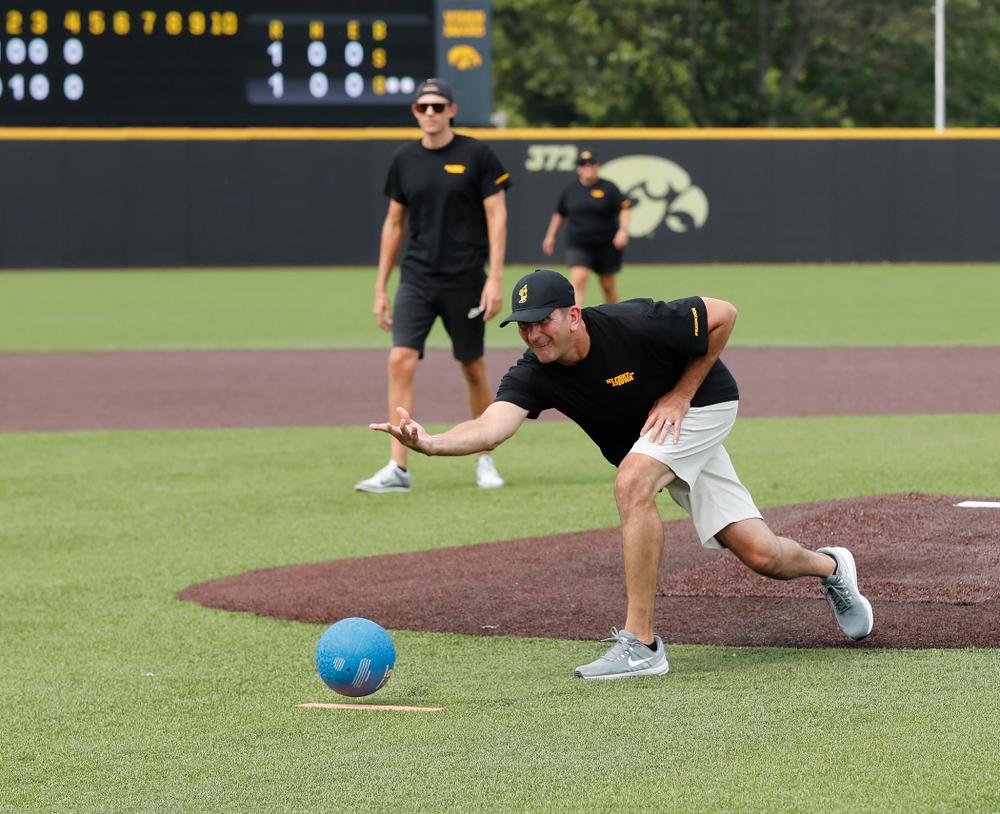 Head Baseball Coach Rick Heller during the Iowa Student Athlete Kickoff Kickball game  Sunday, August 19, 2018 at Duane Banks Field. (Brian Ray/hawkeyesports.com)