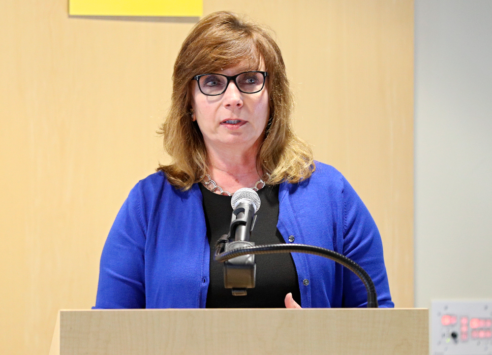 Pam Hinman, Director of Marketing and Communications at the Eastern Iowa Airport, speaks during the press conference to discuss FryFEST and announce the 2019 Iowa Athletics Hall of Fame members in the Varsity Club Room at the University of Iowa Athletics Hall of Fame in Iowa City on Tuesday, Jun 11, 2019. (Stephen Mally/hawkeyesports.com)
