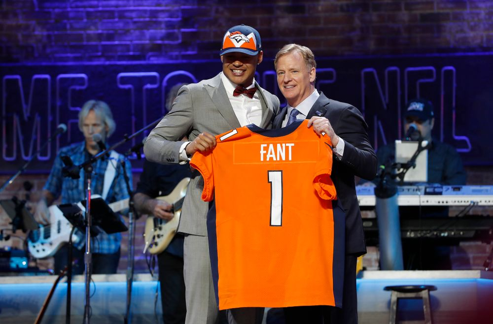 Iowa's Noah Fant is selected by the Denver Broncos with the 20th pick of the 2019 NFL Draft Thursday, April 25, 2019 in Nashville. (Darren Miller/hawkeyesports.com)