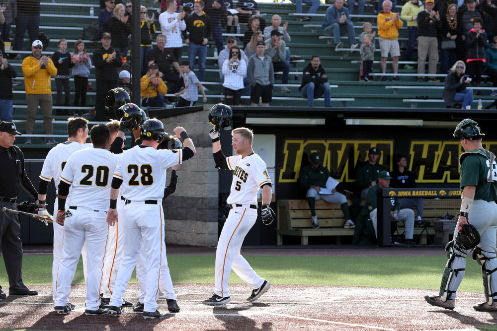 Iowa Hawkeyes Zeb Adreon (5) celebrates after hitting a grand slam against the Michigan State Spartans Friday, May 10, 2019 at Duane Banks Field. (Brian Ray/hawkeyesports.com)